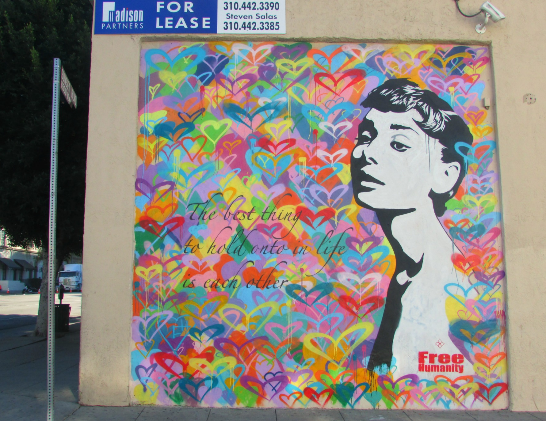 audrey hepburn mural la big cities bright lights