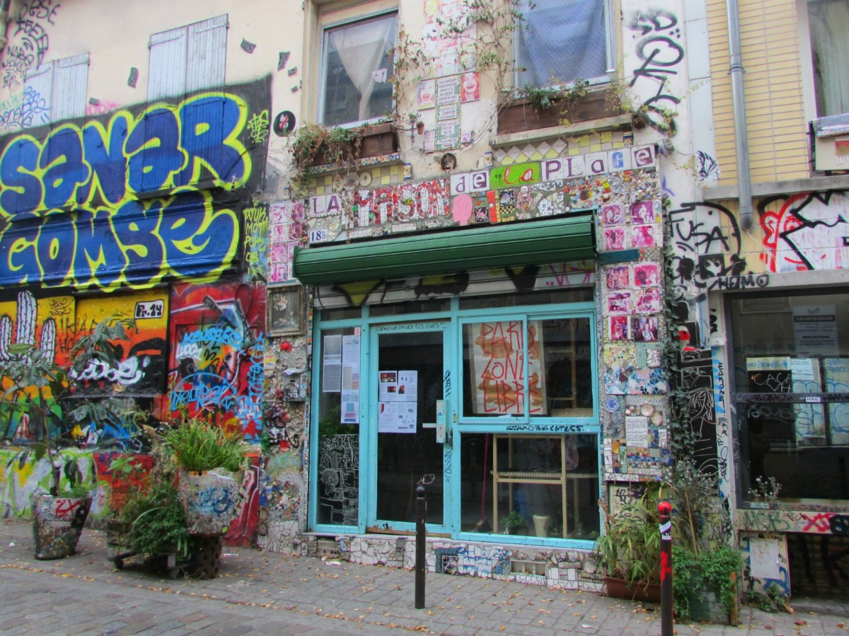 Paris. Belleville. A walk along Rue Denoyez - a street covered in graffiti.