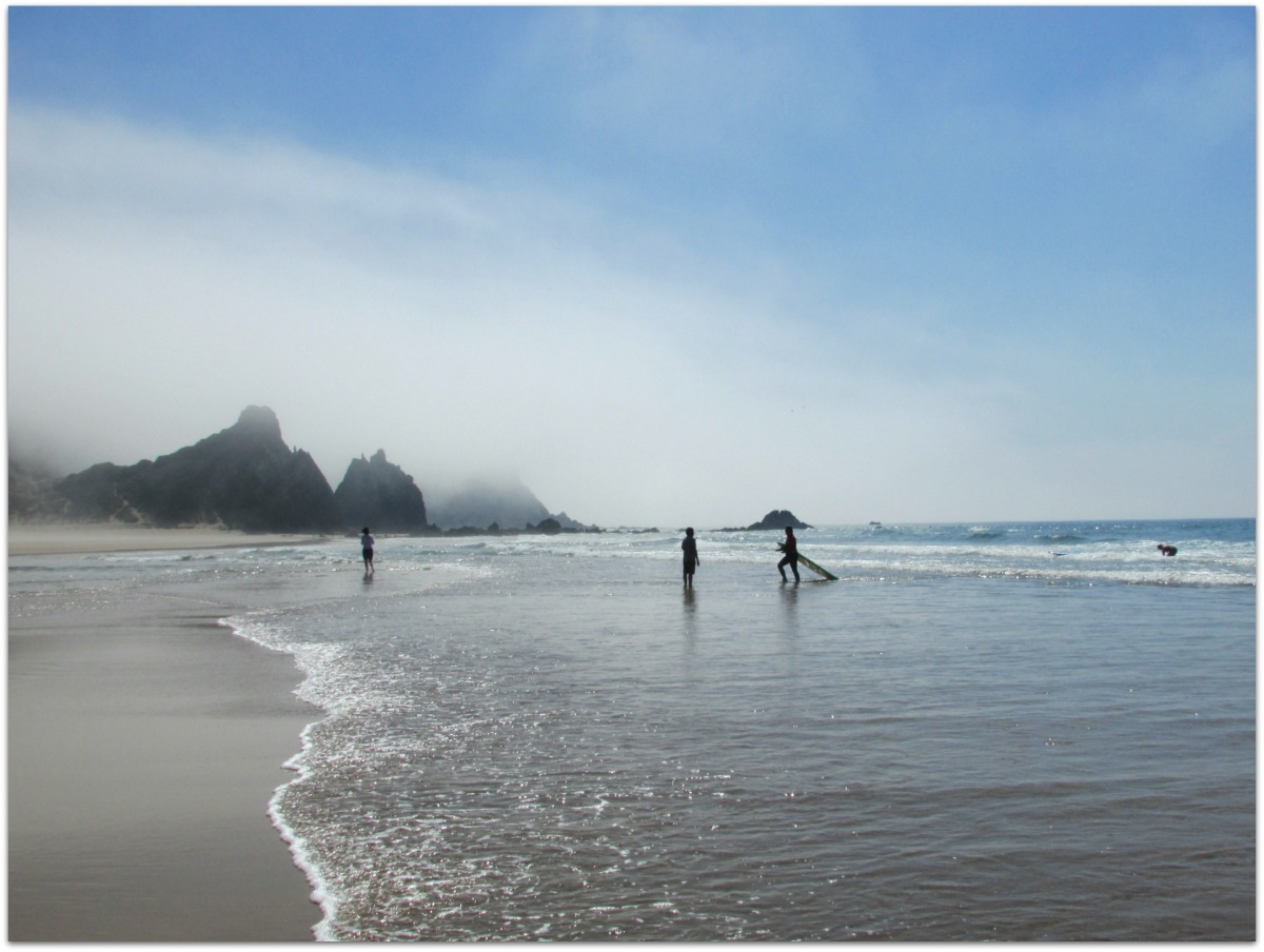 Portugal. Carrapateira. A foggy day at Praia do Amado.